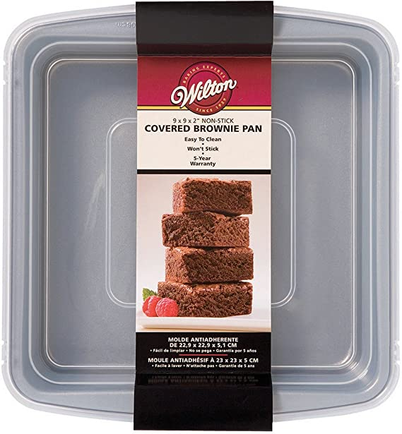 Wilton 2105-9199 Recipe Right Non-Stick Square Brownie Baking Pan with Lid