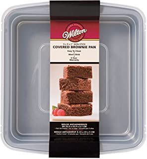 Wilton Recipe Right Non-Stick Square Brownie Baking Pan with Lid, for Transporting Your Dessert from Home to Party, x 9-In...