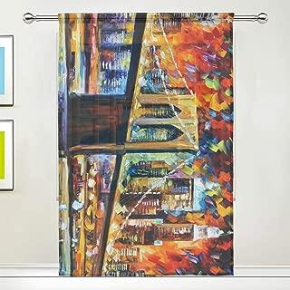 Bedroom Decor Living Room Tulle Gauze Sheer Curtain with Watercolor Brooklyn Bridge