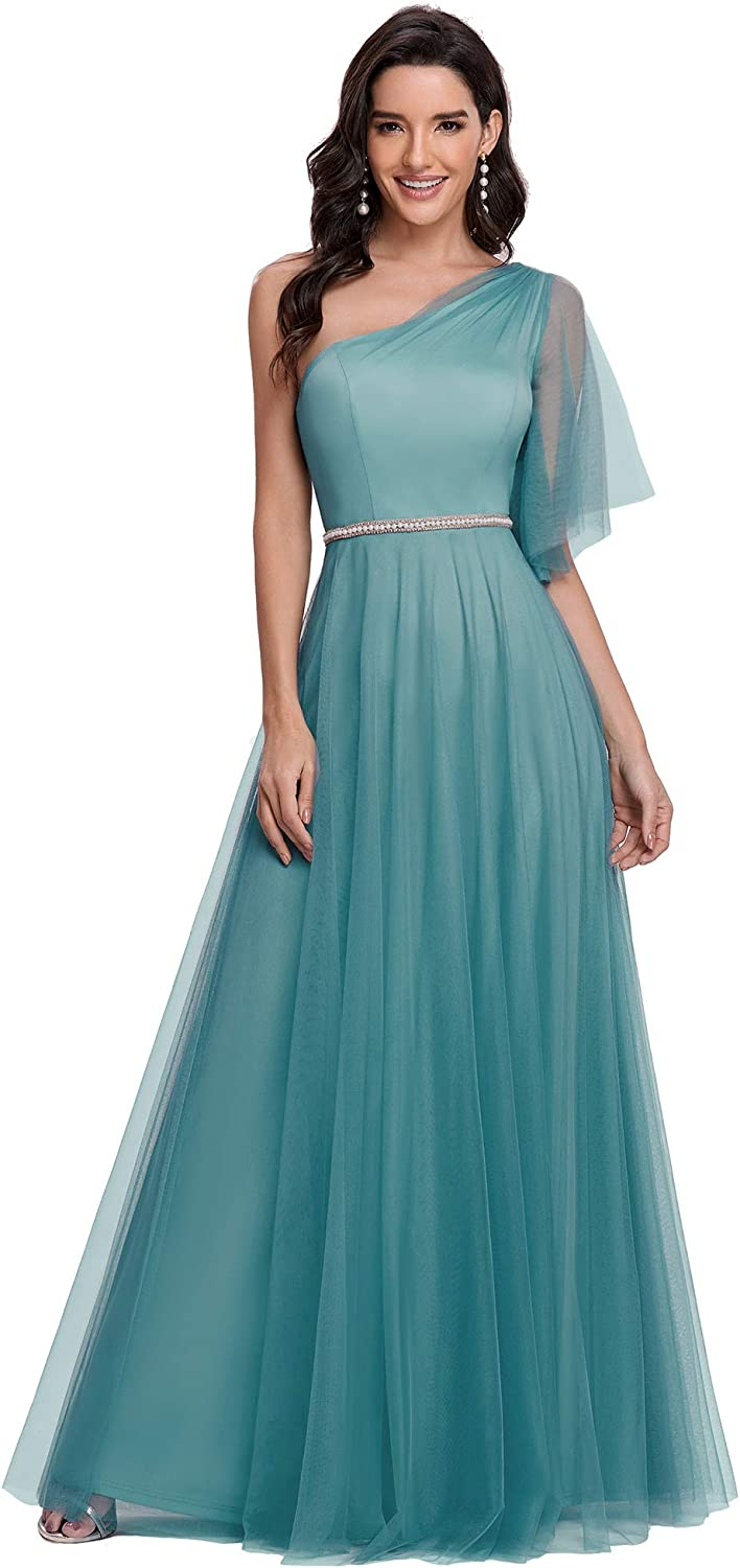Ever-Pretty Women One Shoulder A Line Tulle Bridesmaid Dress 0295