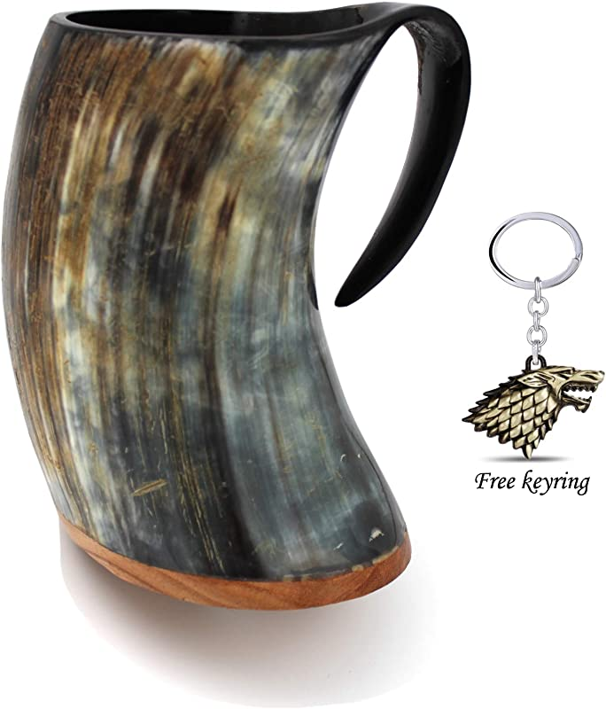 Genuine Viking Drinking Horn Mug Tankard Handcrafted And Polished Finished 20 Ounces