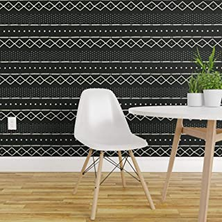 Spoonflower Peel and Stick Removable Wallpaper, Mudcloth Modern Tribal African Black Print, Self-Adhesive Wallpaper 12in x 24in Test Swatch