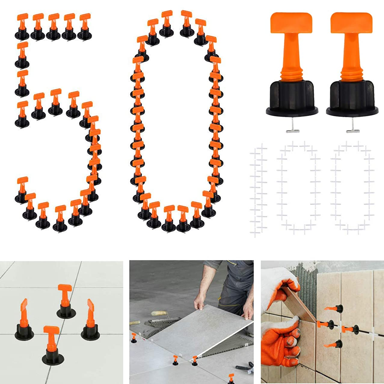 Tiles Leveling System Kits 50PCS DIY Tile Leveler Spacers and 2mm Tile Cross 100PCS, with Wrench, Reusable Flooring Level Tile levellers, Wall & Floor Construction Tools