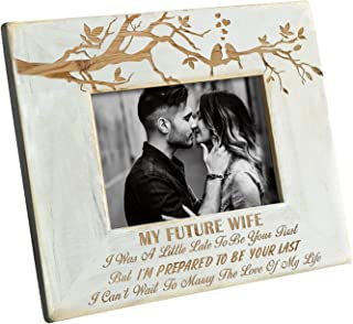 DOPTIKA Wood Frame to My Future Wife - Engraved Natural Wood Photo Frame - I'm Prepared to Be Your Last