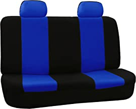 FH Group FB050012 Flat Cloth Bench Seat Covers Blue/Black Color- Fit Most Car, Truck, SUV, or Van