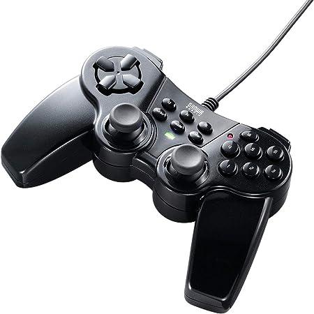 サンワダイレクト ゲームパッド 16ボタン 全ボタン連射対応 Xinput対応 振動機能付 windows専用 400-JYP62UBKX