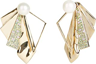 Carolee Women's Fanning Pearl And Pave Jacket Earring