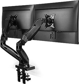 HUANUO Soporte de Monitor Dual, Brazo de Resorte de Gas Giratorio 360 ° para Pantallas de 13 a 27 Pulgadas, 2 Opciones de Montaje, VESA 75/100