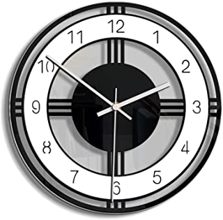 Black and White Wall Clock, 12 inch Circular Creative Acrylic Wall Clock, Quality Battery Operated Non Ticking Home Decora...