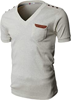 H2H Mens Casual Slim Fit T-Shirts V-Neck Basic Cotton of Various Styles