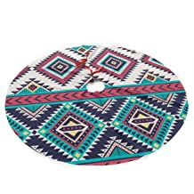 Abstractpillow Christmas Tree Skirt, Tribal Striped Seamless. Aztec Geometric Vector Background 36 inches Xmas Tree Skirt with White Snowflakes for Christmas Holidays Decoration