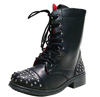 Women's Missile08 Leatherette Studded Lace Up Military Bootie