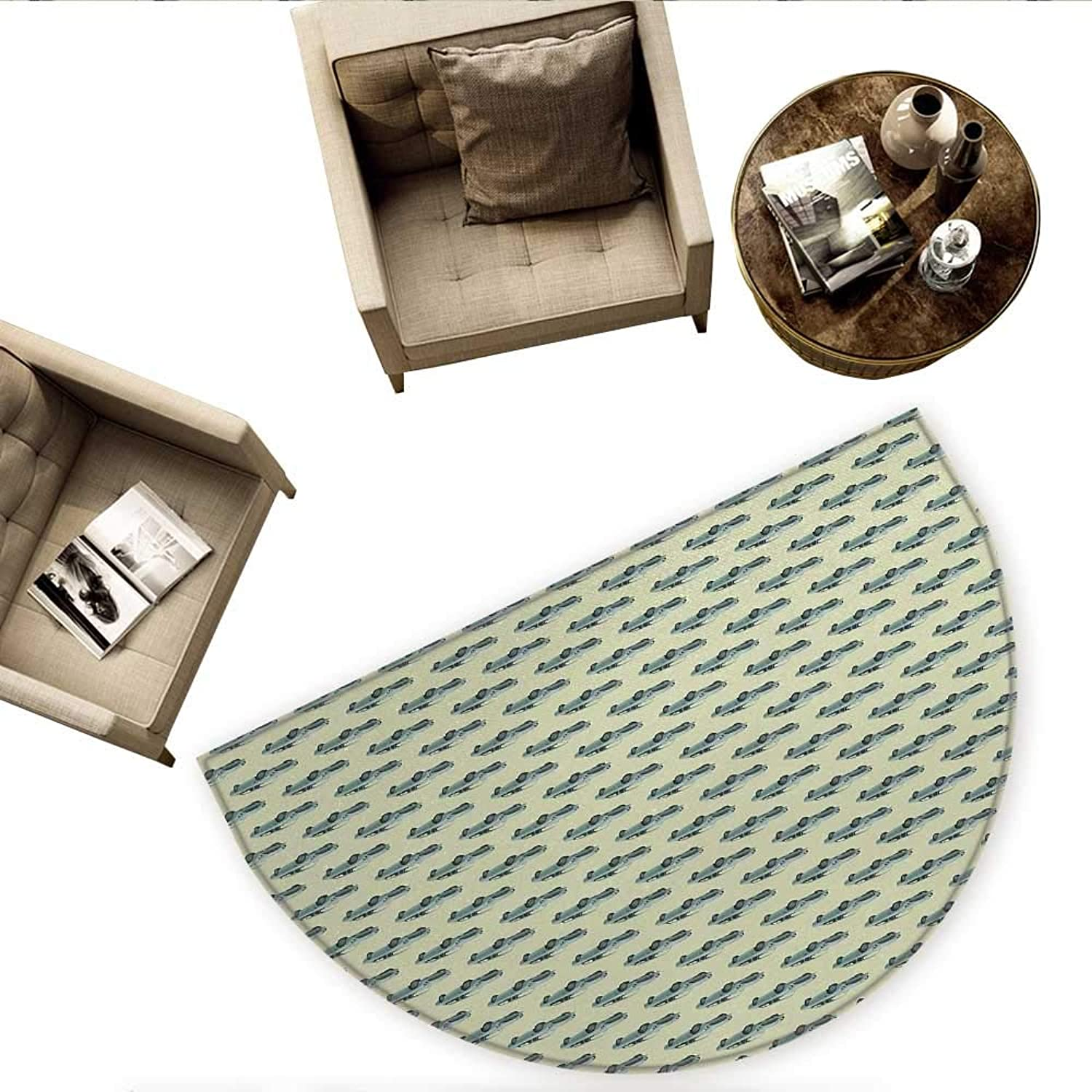 Vintage Semicircular CushionRetro Sports Car Pattern with Classic Vehicle on a Pastel Background Entry Door Mat H 66.9  xD 100.4  Slate bluee and Pale Green