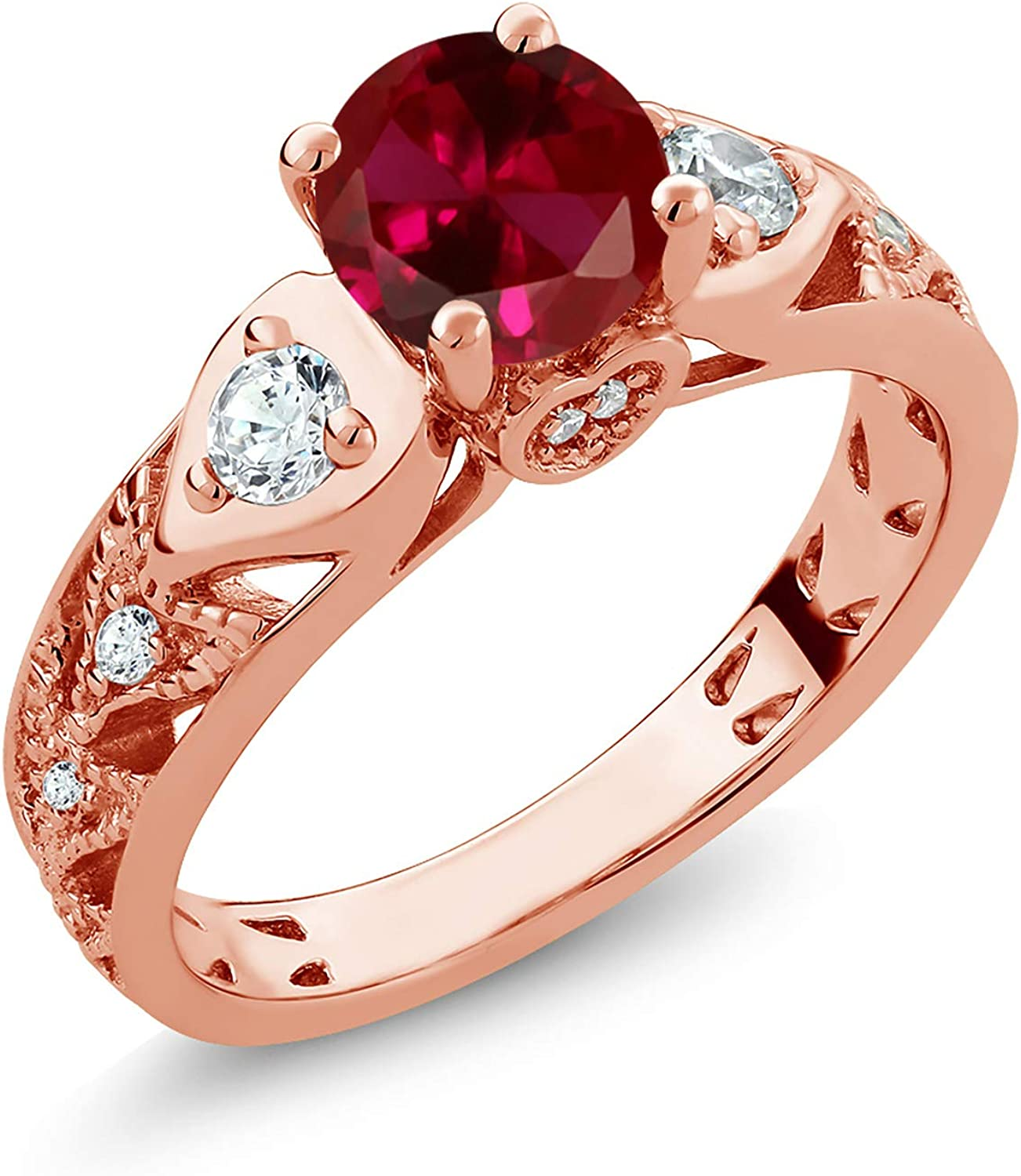 Gem Stone King 18K Rose Gold Inventory cleanup selling sale Red Ruby Silver Wome Plated Created Free Shipping New