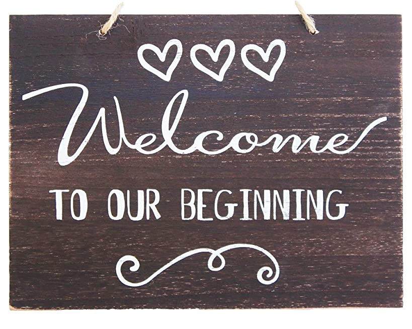 JennyGems Wedding Sign - Welcome To Our Beginning - Wedding Ceremony and Reception Decorations - House Warming Party - Rustic Welcome Sign - Wooden Home Signs - Housewarming Gift - Farmhouse Decor