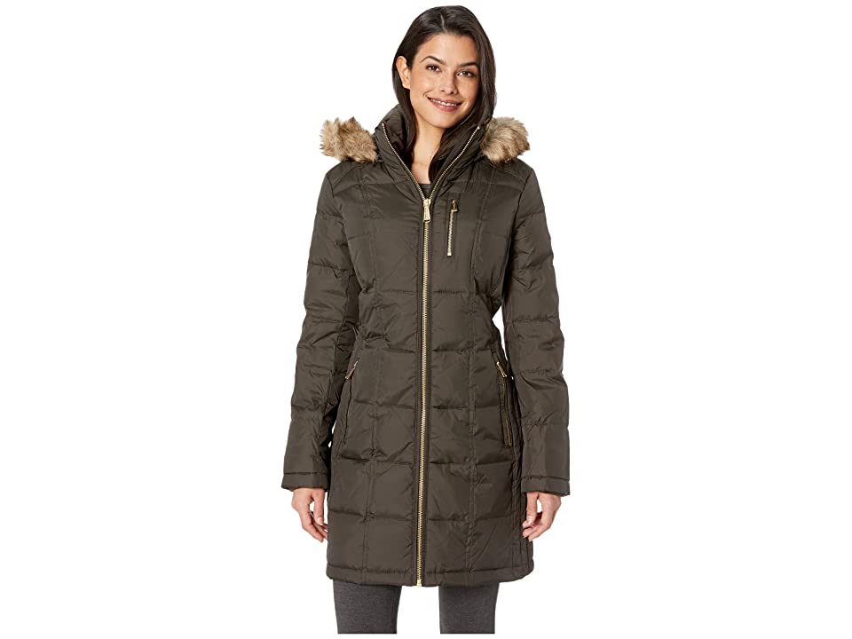 MICHAEL Michael Kors Zip Front Down with Zip Pocket at Top and Faux Fur Trim Hood M821883GZ (Olive) Women