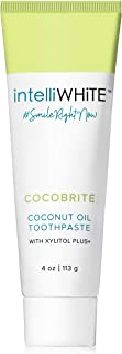 intelliWHiTE Cocobrite Coconut Oil Toothpaste - Xylitol Makes Plaque Less Adhesive To Teeth, Reduce Tooth Decay, Whitens Teeth, Glycerin, PVP, Non Toxic, Made In The USA, 4oz