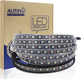ALITOVE Upgraded WS2812B Addressable RGBW LED Strip Pixel Light 16.4ft 300 Pixels SK6812 RGB White Dream Color Programmable LED Flexible Rope Lights Waterproof IP67 Black PCB DC5V