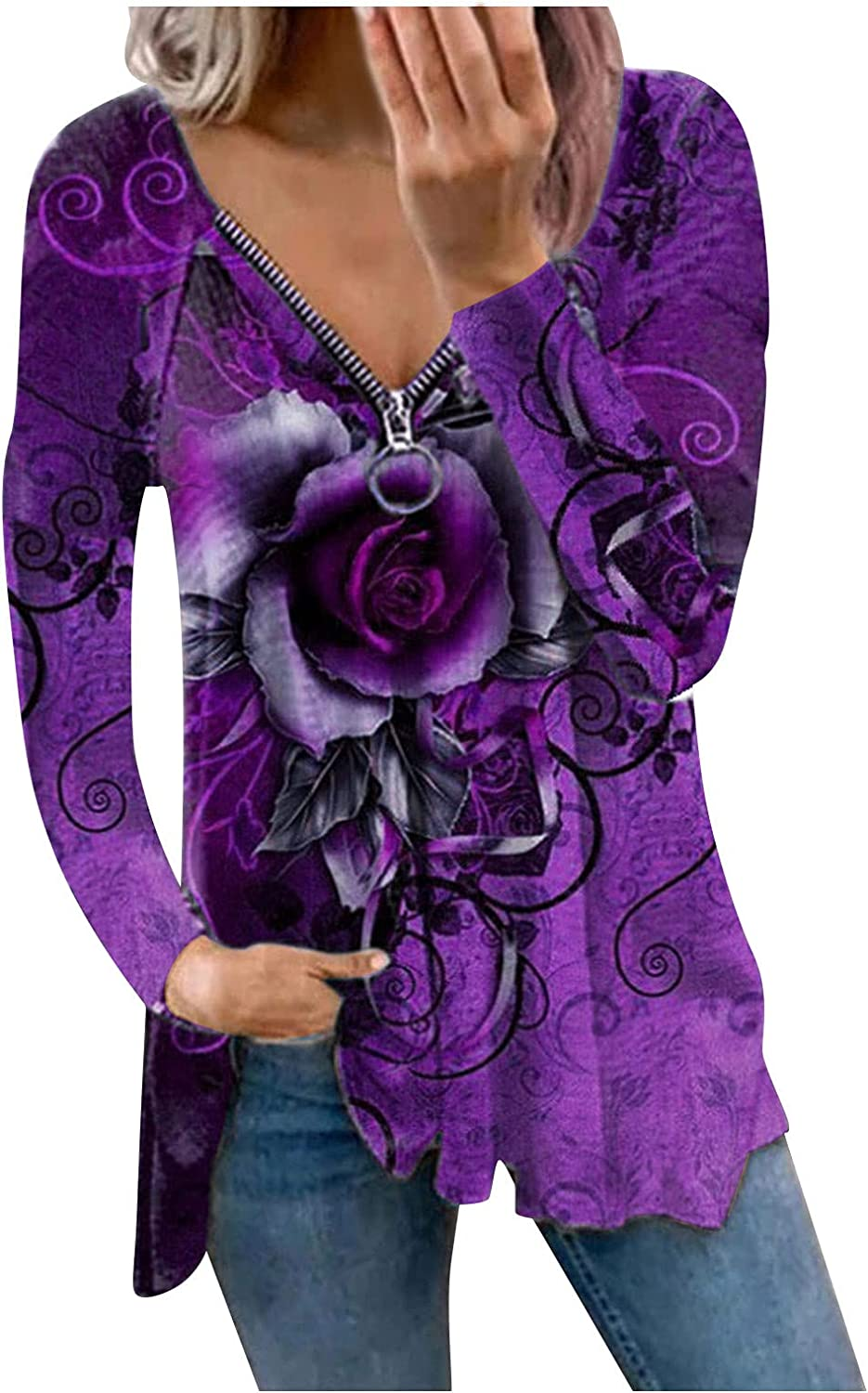 Plus Size Tops for Women Sexy, Womens Fashion V Neck Tie Dye Zipper Pullover Sweatshirts Loose Casual Shirts Blouse Purple