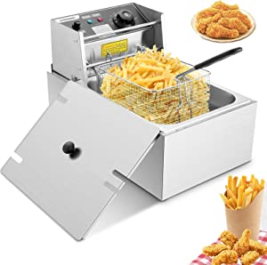Deep Fryer with Basket and Lid,1700 W 6.3 QT Stainless Steel Countertop French Fryer, Adjustable Temperature for Home Commercial Use