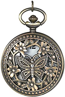 JewelryWe طراحی یکپارچهسازی با سیستمعامل برنز پروانه Flower Openwork Cover Pocket Quartz Watch with 31.5 inch chain
