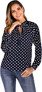 Women's Long Sleeve Lace-up Round Neck Polka Dot Office Blouse Shirt Tops
