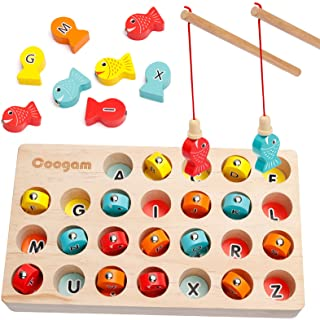 Coogam Wooden Magnetic Fishing Game, Fine Motor Skill Toy ABC Alphabet Color Sorting Puzzle, Montessori Letters Cognition ...