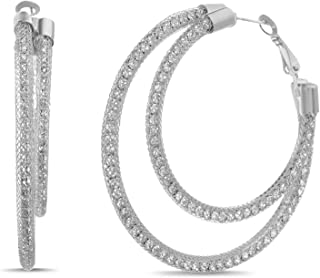 Steve Madden Mesh Rhinestone Double Hoop Earrings for Women (Various Colors)