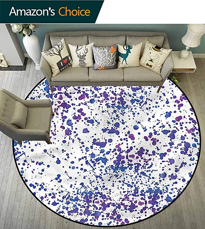 RUGSMAT Abstract Washable Creative Modern Round Rug Paint Splatters Art Non Slip Soft Floor Mat Home Decor Diameter 35