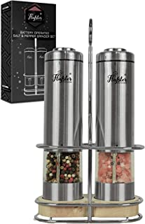 Best Electric Salt and Pepper Grinder Set - Battery Operated Stainless Steel Salt&Pepper Mills(2) by Flafster Kitchen -Tall Power Shakers with Stand - Ceramic Grinders with lights and Adjustable Coarseness Review