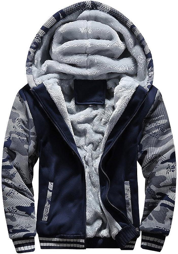 iYYVV Mens Winter Warm Fleece Hoodie Zipper Sweater Jacket Outwear Thicken Padded Coat