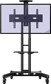 """Invision Chariot Meuble TV avec Roulette Support Télé Pied Pivotant de 32 à 65"""" – Mobile TV de Plancher Robuste – Anti Bas..."""