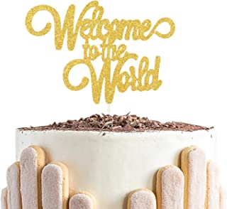 Welcome to The Word Cake Topper,Baby Hello World Cake Decorations,Gender Reveal Baby Shower Party Decorations ( Double Sid...