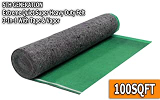 AMERIQUE AMFLT100BL Super Quiet Felt Underlayment Heavy Duty 3mm Padding with Vapor Barrier & Tape, 100 sq.ft, Emerald Green, Square Feet