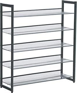 SONGMICS Shoe Rack, 5-Tier Stackable Shoe Storage Shelf, Metal Mesh, Flat or Angled Shoe Organizer for 20 to 25 Pairs of Shoes, Short Boots, High Heels, Cool Gray ULMR05GB