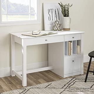 WE Furniture Modern Wood Computer Writing Desk Storage File Drawer Office, 48 Inch, White