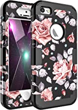 OBBCase iPhone SE Case,iPhone 5S Case,iPhone 5 Case,Three Layer Heavy Duty Hybrid Sturdy Armor High Impact Resistant Protective Cover Case for iPhone SE/5S/5 Rose Flower/Black