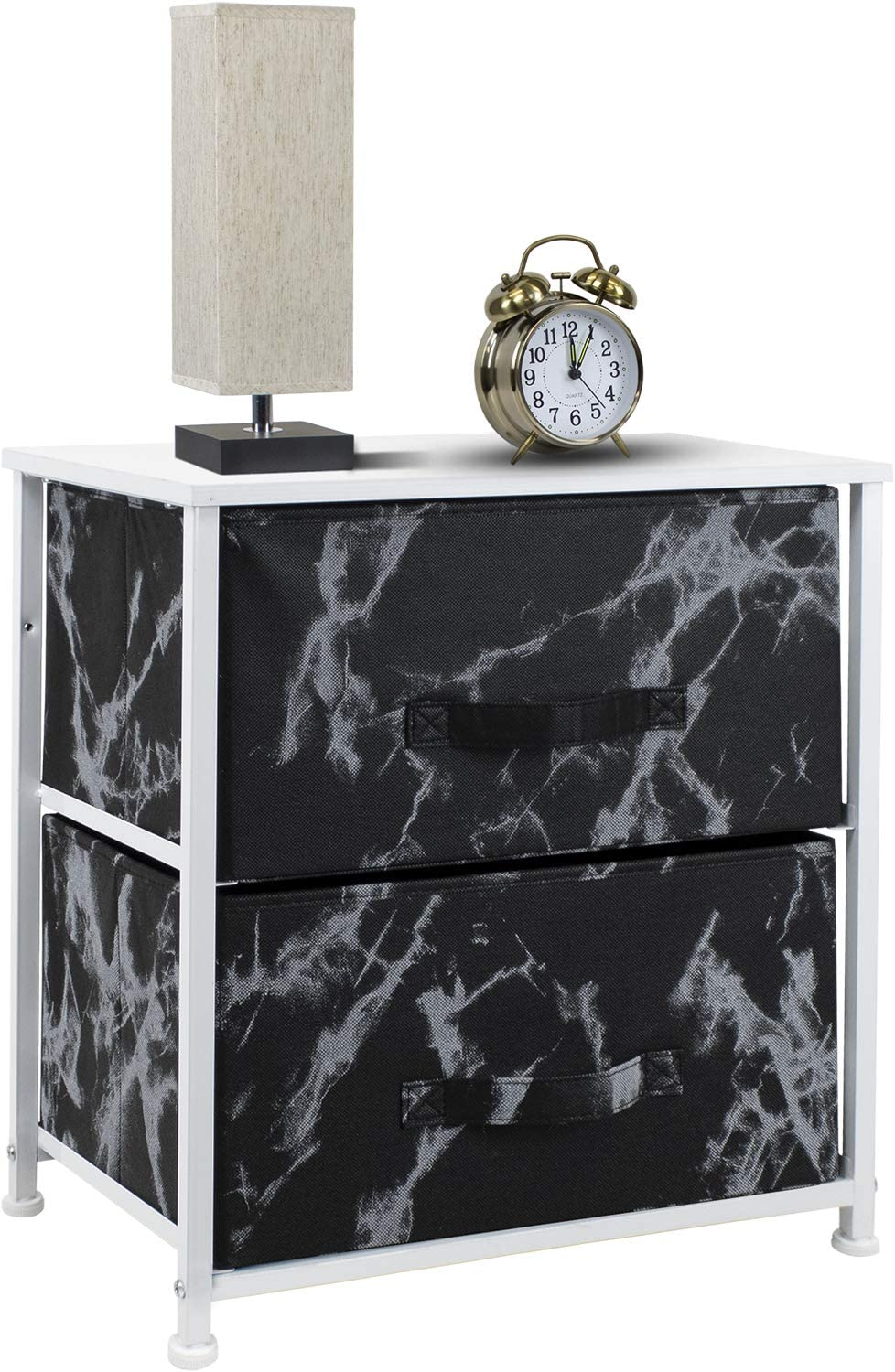 Wood Top Steel Frame Sorbus Nightstand with 2 Drawers Office Bedroom Accessories Bedside Furniture /& Night Stand End Table Dresser for Home Marble Black /– Black Frame College Dorm