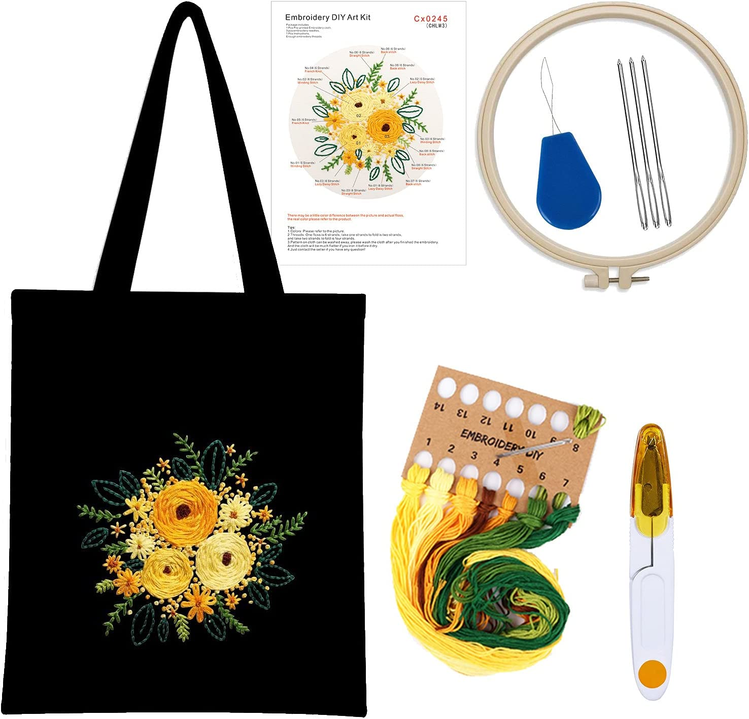 Flymind Bombing free Washington Mall shipping Embroidery Kit for Beginners Tote with Canvas Pattern Ba