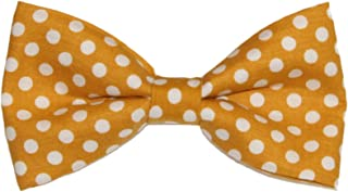 Men's Mustard Yellow With White Dots Clip On Cotton Bow Tie Bowtie by amy2004marie