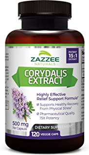 Zazzee Corydalis Extract, 500 mg, 120 Veggie Capsules, Powerful 15:1 Extract, Extra Strength Pharmaceutical Grade, Vegan, All-Natural and Non-GMO, Natural Support for Pain Relief