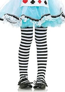 Leg Avenue Children's Striped Tights, Large, Black/White