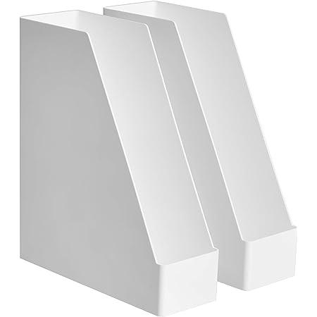 Amazon Basics Organiseur en plastique Lot de 2range-revues Blanc