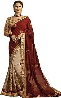 Indian Sarees for Women Designer Party Wear Traditional Marun with Cream Sari.