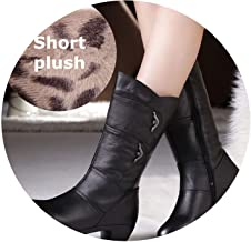 Mother Women Shoes Women Shoes Zipper Boots Winter Warm Plush Genuine Leather Cowhide Calfskin