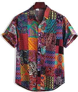 Men's T-Shirts,Flower Casual Button Down Short Sleeve Hawaiian Shirt