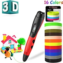 BeTIM-3D-Pen-for-Kids W 12 Colors PLA Filament Refills,Mat,3D Art Printing Printer Pens with LCD Screen Automatic Feeding,Interesting Gifts Toys for Kids Adults DIY Non-Clogging (Red-BE006)