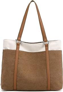 JANSBEN Damen Handtasche Schultertasche Canvas Casual Groß Tasche Shopper Elegant für Büro Schule Arbeit (Khaki)