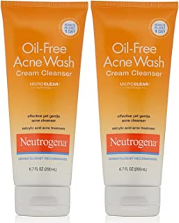 Neutrogena Oil-Free Acne Wash Cream Cleanser, 6.7 Fluid Ounce (Pack of 2)