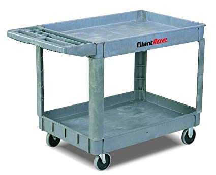 Giant Move Ak H252a Plastic Utility Cart 500 Lbs Capacity 37 Length X 26 Width X 33 Height 2 Shelves Gray Service Carts Amazon Com Industrial Scientific